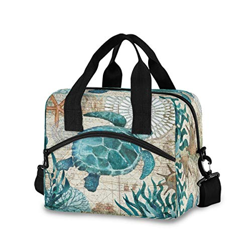 Toprint Sea Ocean Turtle Retro Map Lunch Bags Box Starfish Lunchbox Insulated Lunch Box Cooler Bag Reusable Tote Shoulder Bag Lunch Container Organizer for Women Men Adults Work Picnic Hiking Beach
