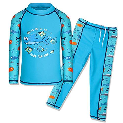 HUAANIUE Jongens 3-12 Jaar Twee Stuk Lange Mouw 50+UV Badpak Haai Badmode Kinderen Zwemkleding Kostuum Zonbescherming