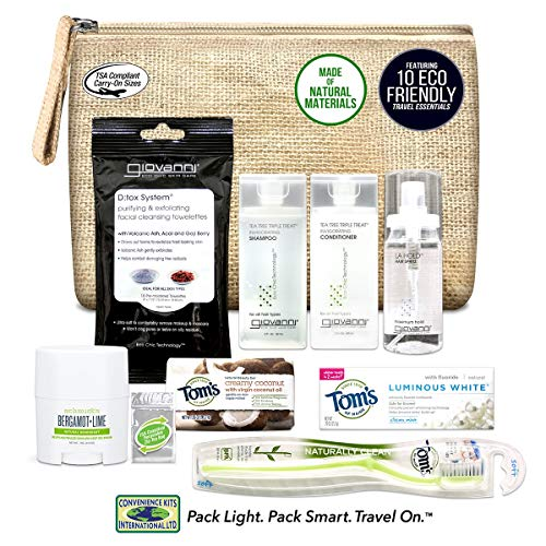 Convenience Kits International Women's Natural 10-Piece Assembled Kit with Travel Size Essentials Featuring: Tom's of Maine, Giovanni and Schmidt's Natural Products in Toiletry Bag.