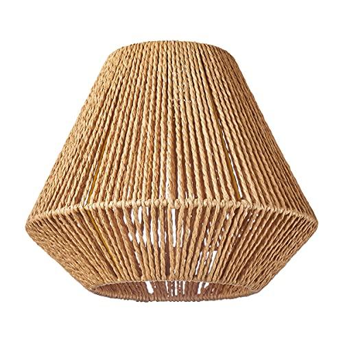 HSH Leuchten - Pantalla redonda para lámpara de techo (pantalla de papel reciclado, material reciclado, apta para lámpara colgante E27, diámetro 30 cm, altura 25 cm, sin bombilla)