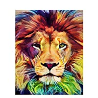 油絵 数字キットによる絵画色とりどりのライオンデジタル絵画油絵 数字キットによる絵画手塗り DIY絵 デジタル油絵塗り絵 40x50cm (フレームレス)