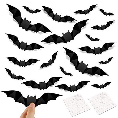 Maxure Bats Wall Decorations, 160 Pcs 3D Bat Halloween Party Supplies Decoration Stickers 4 Size Waterproof Black Spooky Bats Wall Decal for Home Window Room Decor