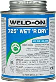 Weldon 10167 Aqua Blue 725 Medium-Bodied Wet' R Dry Pvc Professional Industrial-Grade Cement Extremely Fast-Setting Low-Voc, 1/2 pint, Aqua Blue