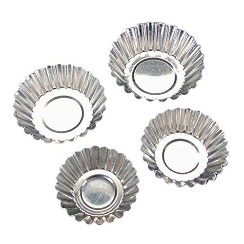 TININNA Lot de 20 moules en acier inoxydable Argent pour muffins mini pudding tartelettes cupcake, Acier inoxydable, 5.5cm