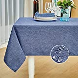 Mebakuk Rectangle Table Cloth Linen Farmhouse Tablecloth Waterproof Anti-Shrink Soft and Wrinkle Resistant Decorative Fabric Table Cover for Kitchen (Oblong 60 x 104 Inch (8-10 Seats), Denim Blue)