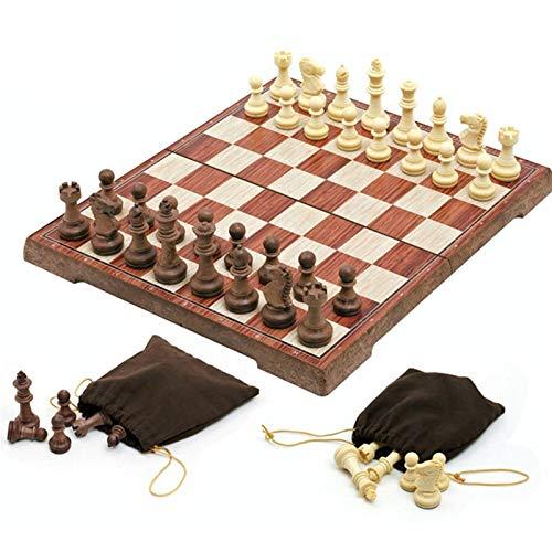 WAYYQX Schachspiel aus Holz 4 Größe Magnetschach Set Mit Schachbrett Faltbrett Spiel Für Kinder Erwachsene Tragbare Reise Set Spielzeug 32 Hölzerne Schachfiguren Schachfiguren Set (Color : S 24.5cm)
