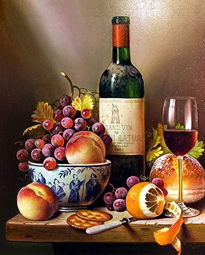 WOWDECOR Kit de pintura por números, pintura al óleo de bricolaje – perro pájaros vino tinto girasoles 40,6 x 50,8 cm (vino, sin marco)