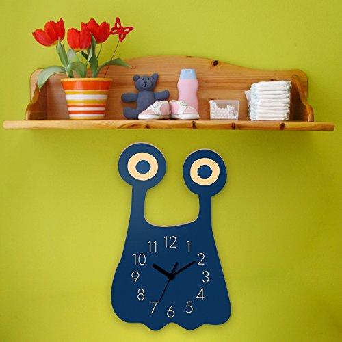 Wanduhr Monster Glubschi-Blau, Kinderuhr, Uhr für Kinderzimmer