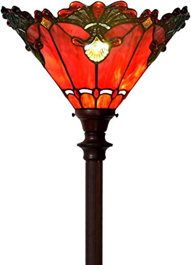 ✅Bieye L10682 Baroque 71 inch Tiffany Style Stained Glass Torchiere Floor Lamp with 13 Inch Wide Handmade Lampshade, Metal Base with Dark Brown Baking Finish, Red #Lighting & Ceiling Fans