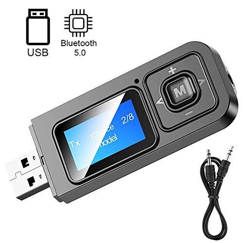 EasyULT Adaptador Bluetooth 5.0 Transmisor y Receptor 5 en 1, Emisor Bluetooth Inalambricos, Jack 3,5 mm Receptor Audio Música en Modo RX TX, para TV, PC, Audio, Coche (Negro)