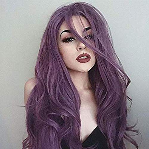 VRZ Lace Front Wigs Synthetic Hair Purple Side Part Long Natural Straight Heat Resistant Daily Party Wig for Women (SLFW-Z01)