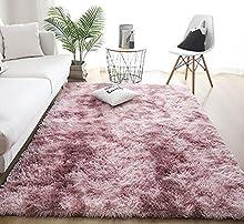 Alfombras de Interior Modernas Ultra Suaves, alfombras mullidas para Sala de Estar, adecuadas para el Dormitorio de los niños, decoración del hogar, alfombras de guardería (Rosa Morado, 80 x 120 cm)