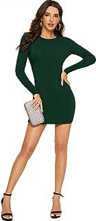 فستان اخضر سادة مفتوح من الخلف بقصة ضيقة