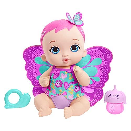 My Garden Baby Mariposas hago pipí Magenta Muñeco de juguete con manta mariposa, biberón y pañal, regalo para niñas y niños +18 meses (Mattel GYP10)