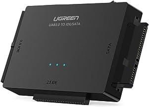 UGREEN USB 3.0 a IDE y SATA Adaptador para 2,5'' y 3,5'' Disco Duro IDE SATA Lector HDD SDD, 10 TB MAX, Plug Play para Windows 10/8/7, Mac OS y Linux (Adaptador DC 12V y Cable USB 1M Incluidos)