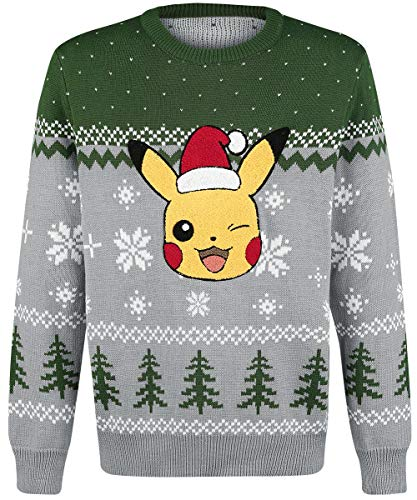 Pokemon Pikachu Winking Christmas Knitted Sweater, Male, Extra Extra Large, Multi-Colour Kw066144Pok-2Xl