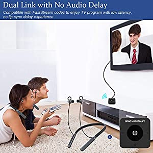iDIGMALL Wireless Headphones for TV Watching, Bluetooth HiFi Earbuds Headset Hearing Set w/Audio Transmitter for Digital Optical RCA Aux Home Stereo, PC, DVD, Plug n Play, No Lip-Sync Delay, Pair Two
