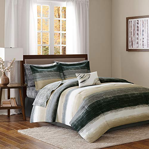 """Madison Park Essentials MPE10-166 Saben Complete Bed and Sheet Set King (104""""x92""""), Stripe Taupe"""