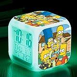 FTIK Reloj Despertador Cuadrado pequeño Digital de la Familia Simpson, luz de Noche silenciosa Luminosa Led de Despertador, batería USB Que Cambia de Color Colorido A4