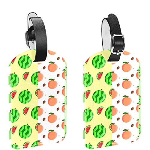 FURINKAZAN Green Fruits 2 Pack Luggage Tag Suitcases Travel Bag Baggage ID Label Tags