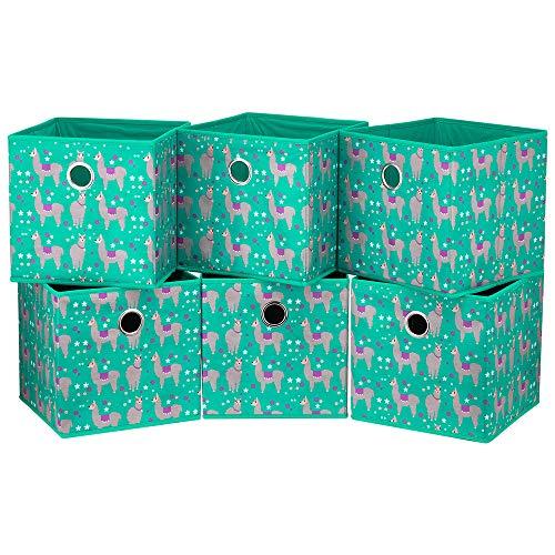 HSDT 6 cajas de almacenamiento plegables, tela azul pavo real, 25,4 x 25,4 x 25,4 cm, 1 orificio de metal, compatible con organizador de cubos, utilizado para organizar misceláneas, QY-SC16-6