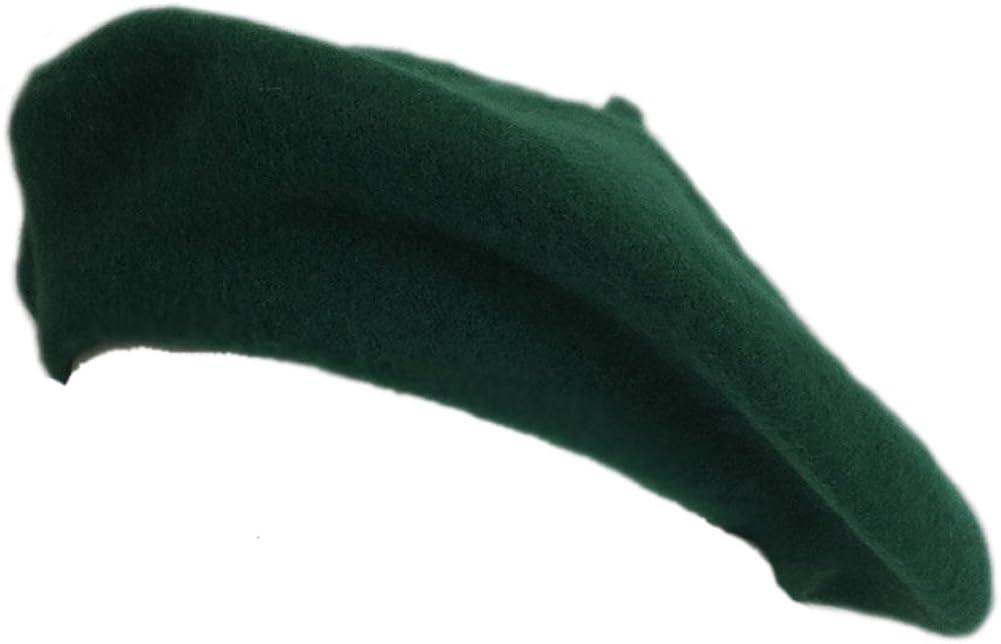 100% Wool Kelly Green Beret French Parisian Hat