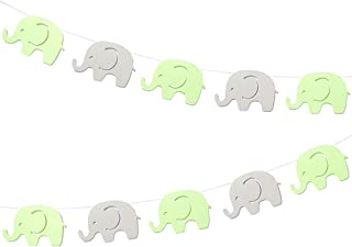 10 Feet Green Elephant Garland Baby Shower Decorations Baby Elephant Banner Decorations Birthday Party Supplies Baby Nursery Decorations Green Gray Elephant 4 Inch 17 Pieces