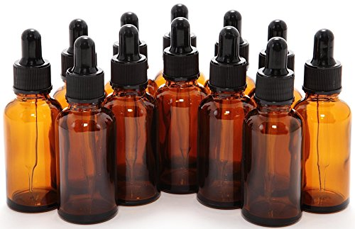 1 oz Amber Glass Bottles, with Glass Eye Droppers