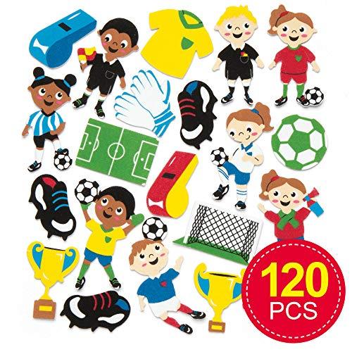 Baker Ross voetbal schuimrubber stickers voor knutsel- en kunstprojecten, kaarten, feestzakjes en decoraties voor kinderen (120 stuks)
