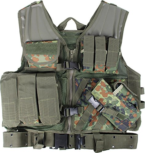 normani USMC SWAT Einsatzweste mit Koppel Equipment Farbe Flecktarn