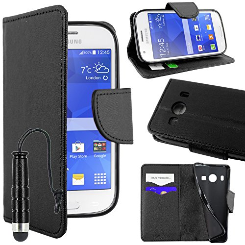 ebestStar - Coque Compatible avec Samsung Ace 4 Galaxy SM-G357FZ Etui PU Cuir Housse Portefeuille Porte-Cartes Support Stand + Mini Stylet, Noir [Appareil: 121.4 x 62.9 x 10.8mm, 4.0'']
