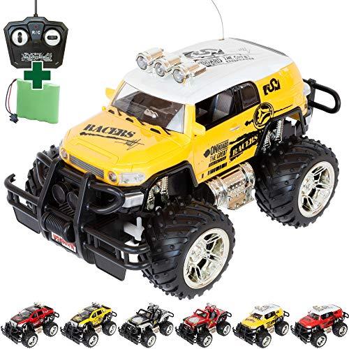 MABAMAHO Monstertruck 1:16 mit Elektromotor Fernbedienung LEDs und Akku für Kinder, 4.8V Akku und Ladegerät. Kinder Spielzeug Auto für Jungs und Mädchen, die perfekte Geschenkidee (Gelb)