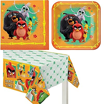 Angry Birds Napkins, Plates, Tablecover, Happy Birthday Party Bundle for 16 People - Includes 1 Maze Game Activity Card by ClassicVariety