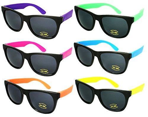 6 or 8 Pack of Multi-Colored Neon Retro 80s Sunglasses. Adults and Kids Sizes Available