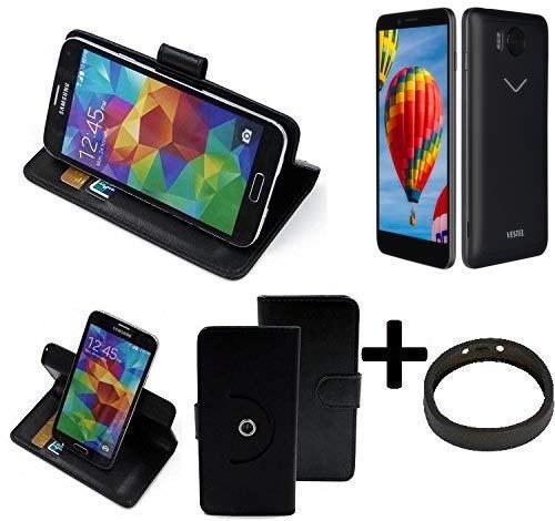K-S-Trade® Case Schutz Hülle Für Vestel V3 5580 + Bumper Handyhülle Flipcase Smartphone Cover Handy Schutz Tasche Walletcase Schwarz (1x)