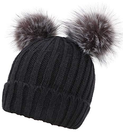 AbbyLexi Winter Cute Ski Knit Warm Fleece Beanie Hat for Women,Black