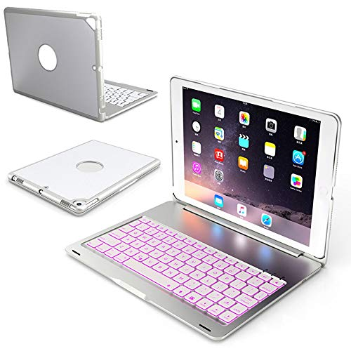 RZL PAD & TAB cases For iPad 10.2 inch 2019 A2197 A2200 A2198, Ultra Slim Backlight Keyboard Cover Aluminum Alloy Case For iPad 7th Gen 10.2' (Color : Silver)