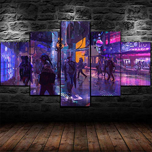 Cuadros Modernos Impresión de Imagen Artística Digitalizada | Lienzo Decorativo para Tu Salón o Dormitorio | Cartel de la gente de la ciudad del juego 5 piezas de lienzo de arte de pared 200x100cm XXL