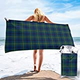 "Quick Dry Beach Towel,Royal Blue and Green Plaid Scottish Tartan Travel Microfiber Bath Towel Blanket Super Absorbent Lightweight Towel for Beach,Pool,Spa,Swim,Hiking and Home Use,Oversize 31.5""x63"""