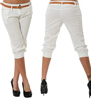 ex High Street Pantacourt pour Femme Beige Extensible//Coton Slim /ét/é 44