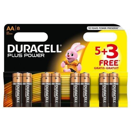 Duracell MN1500 Plus Power Alkaline Battery AA Size, 5 + 3 Free Batteries