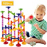 pozzolanas Marble Run Toy,105 Pcs Marble Race Track for Kids, Building Block Toys,STEM Learning Toy Marble Maze Games with 75 Translucent Marbulous Pieces +30 Glass Marbles
