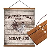 Cloud Dream Home Magnetic Poster Frame 10'(10x14inch) Farm Cock Light Wood Wooden Frames Hanger Vintage Wooden Board Dowel Scroll Wall Hanging for Photo Picture, Canvas Artwork