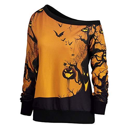 Auifor vrouwen Halloween-Party-Skew Neck Pumpkin Print sweatshirt pullover tops
