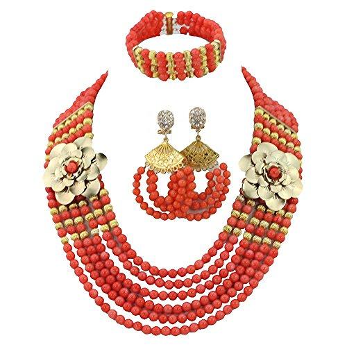 AfricanBeads naranja Coral indio de seis filas novia joyería Set, mujer fiesta joyas para disfraz de africana de joyería set