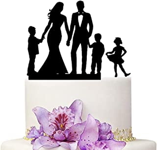 Wedding Cake Topper - Mom and Dad With 3 Children Family Anniversary Cake Topper
