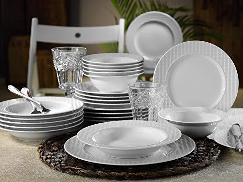 Mitterteich EKS24Y200 - Vajilla de porcelana (24 piezas, porcelana), color blanco