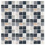 Globaldream pegatinas de baldosas, 30 piezas cenefa adhesiva cocina azulejos adhesivos pegatinas mosaico pegatinas de baldosas de azulejos para baño y cocina (10 cm x 10 cm)