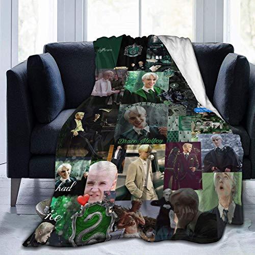 Shichangwei Draco-Malfoy Manta de forro polar, suave y reversible, manta de cama y sofá, cálida y ligera, para decoración del hogar, 152 x 201 cm