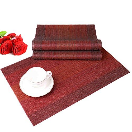 ISIYINER Mantel individual antideslizante de PVC lavable con camino de mesa a juego para mesa de comedor Conjunto de 6 (30 x 45) Rojo oscuro